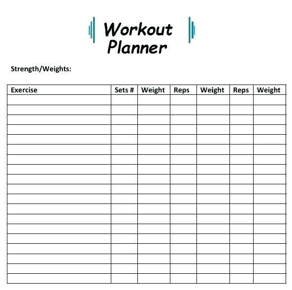 simple workout planner template
