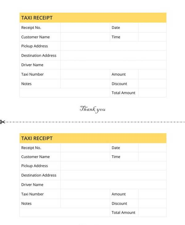 graphic regarding Printable Taxi Receipts titled Cost-free 12+ Cab Receipt Templates - PDF Google Docs Google