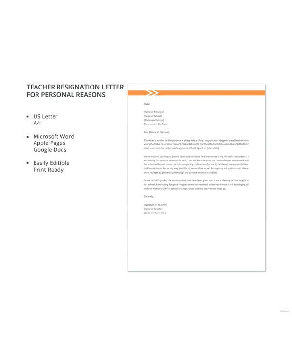 8+ Sample Teacher Resignation Letters - PDF, Word, Apple Pages ...
