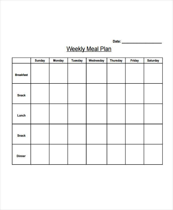 weekly diet plan template