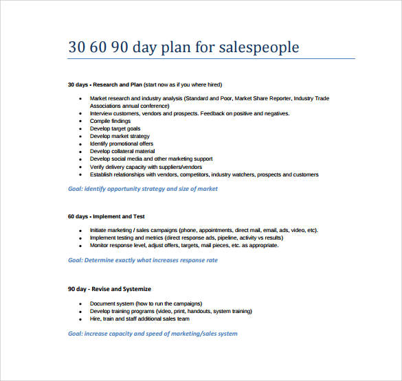 30 60 90 day action plan for sales people