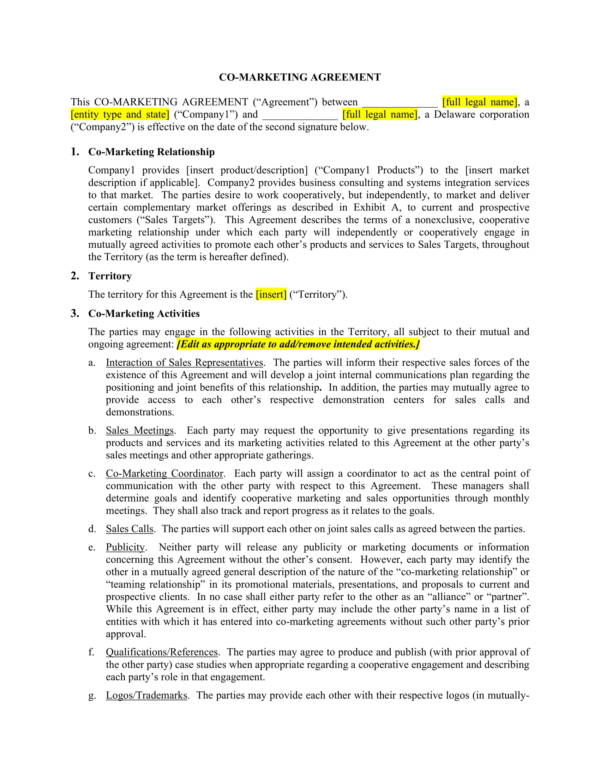 co marketing agreement template 1