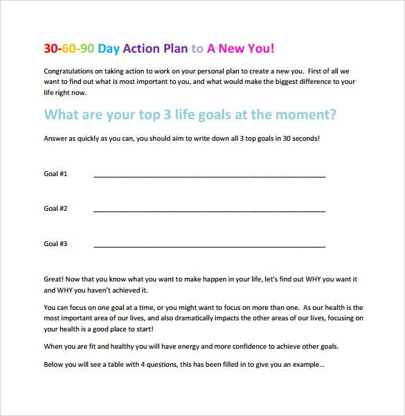colorful 30 60 90 day action plan template