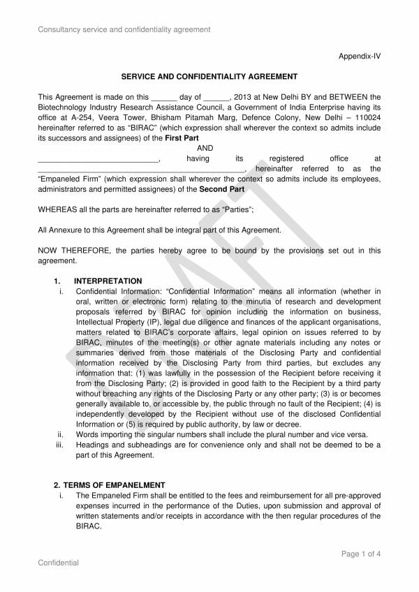 consultancy service and confidentiality agreement 1