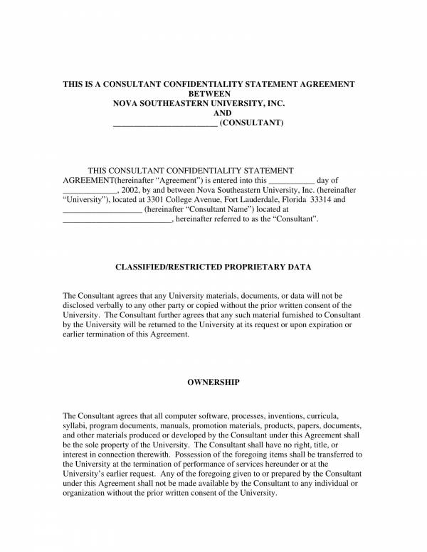 consultant confidentiality statement agreement template 1