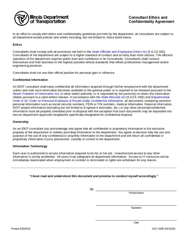 consultant ethics and confidentiality agreement