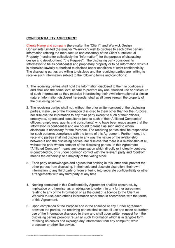 consulting company sample confidentiality agreement template 1