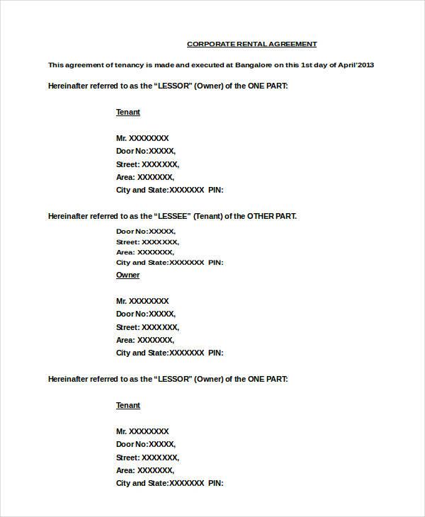 corporate apartment rental agreement
