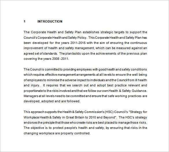 corporate health safety plan template