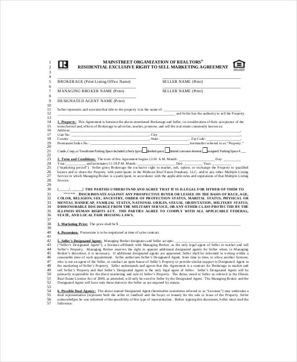 exclusive marketing agreement template