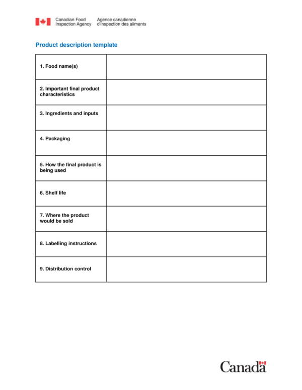 food products benefit statement template 1