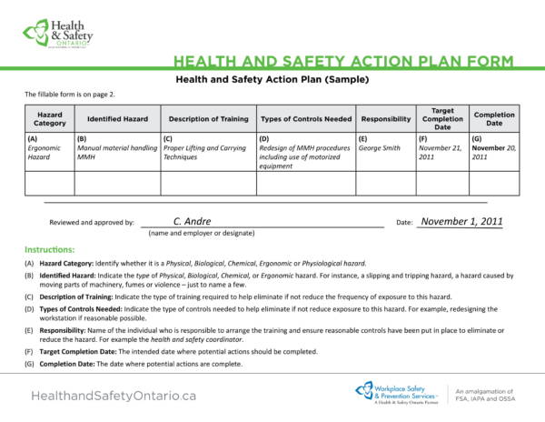 health and safety action plan form 1