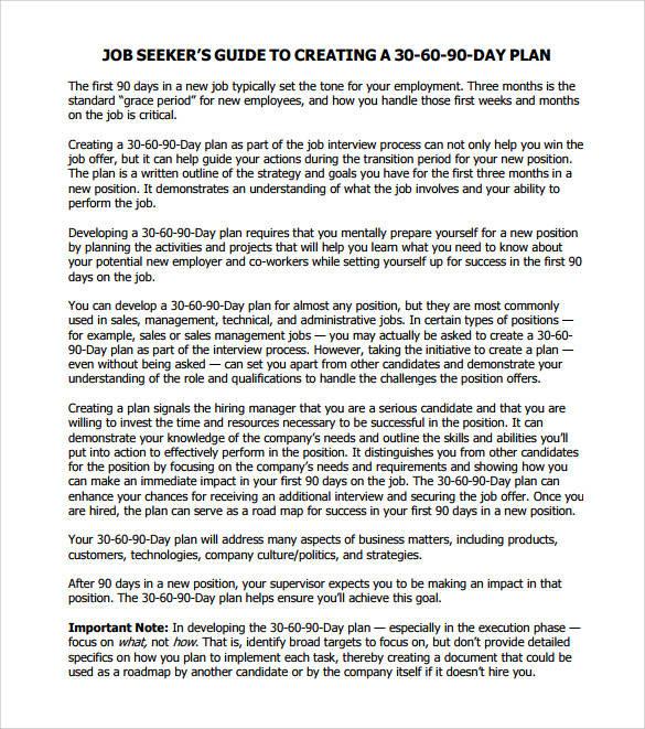job management 30 60 90 day action plan