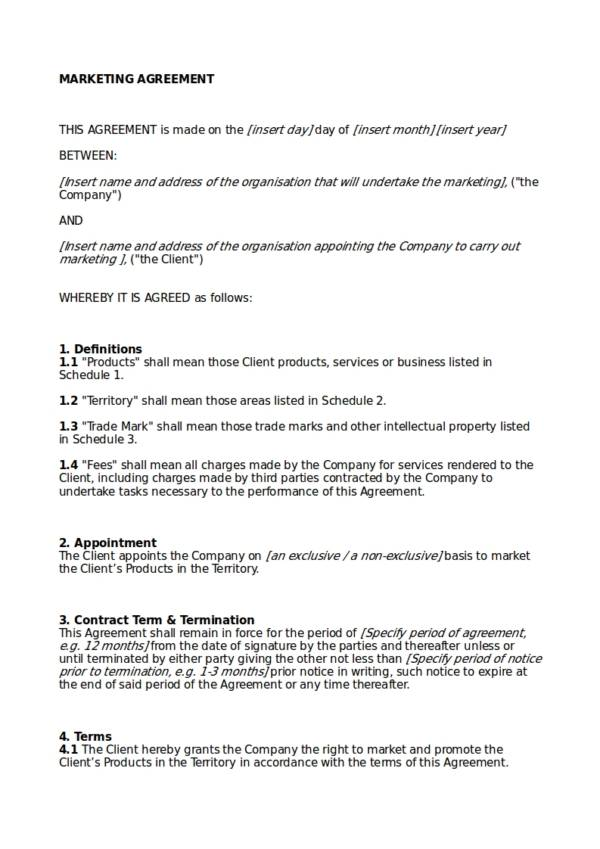 12 Advertising And Marketing Agreement Template Pdf Word