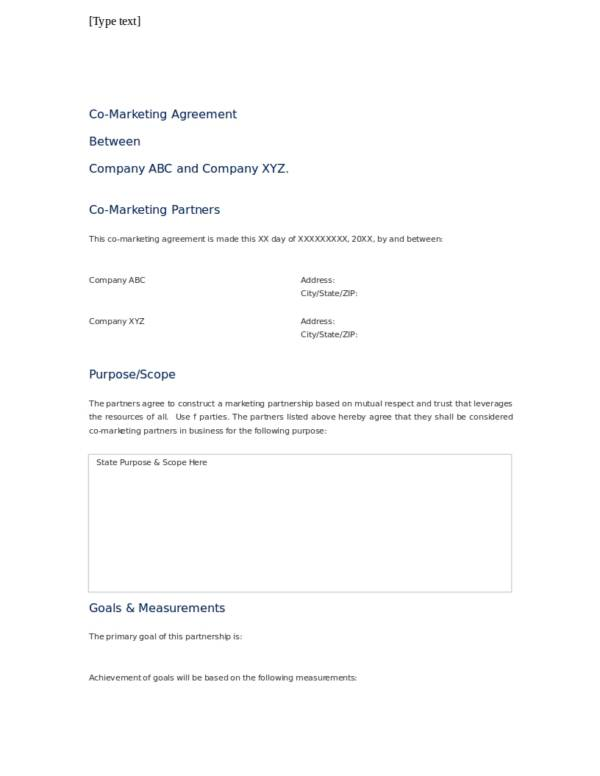 partnership marketing agreement template