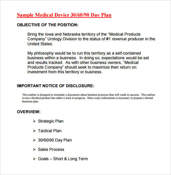 printable medical device 30 60 90 day action plan template