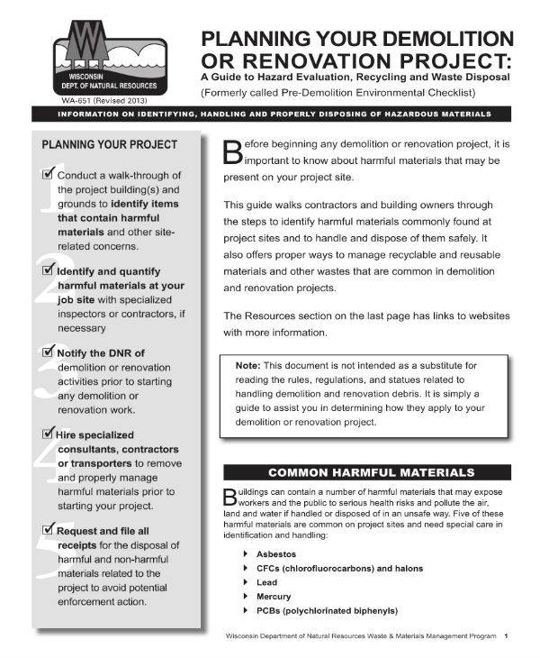 renovation or demolition project plan template