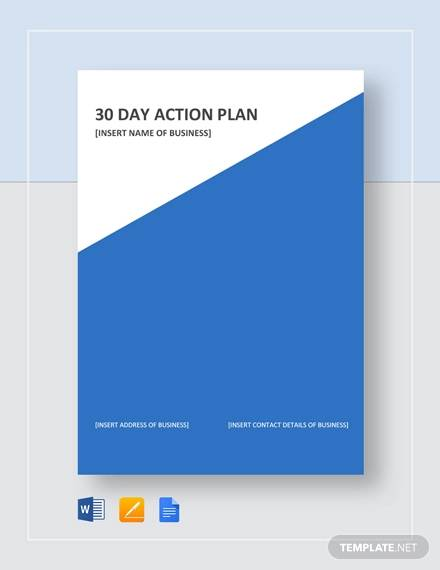 sample 30 day action plan template