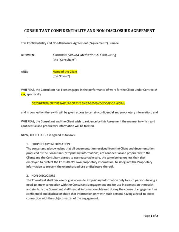sample consultant confidentiality agreement template 1