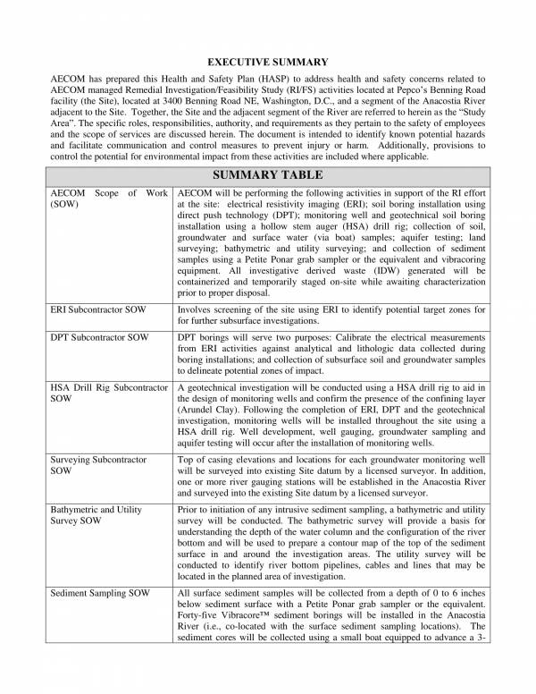 sample health and safety plan template 003