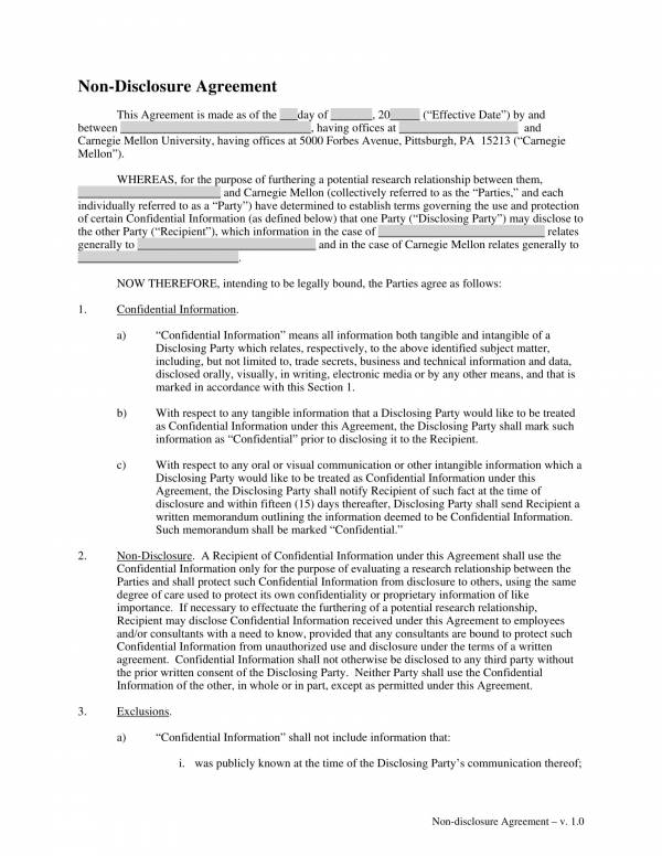 sample template for non disclosure agreement 1