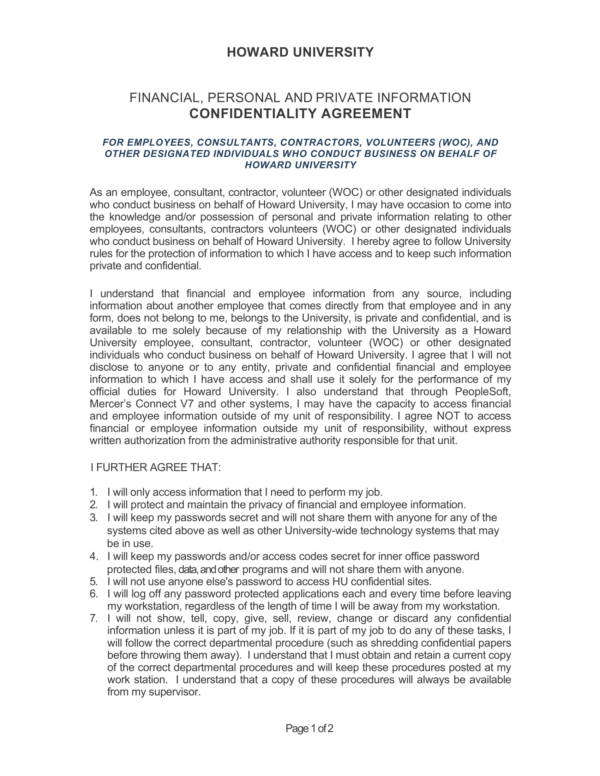 sample university confidentiality agreement 1