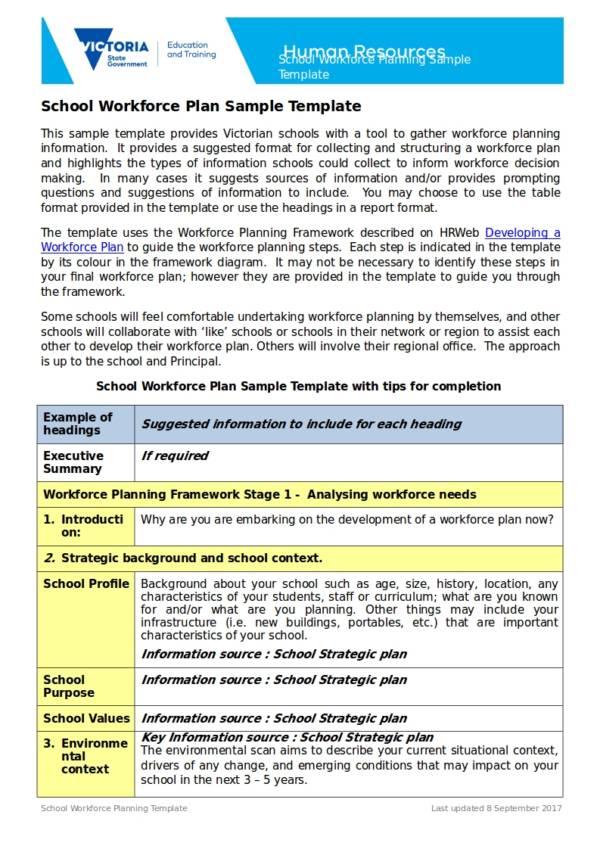 school workforce plan template