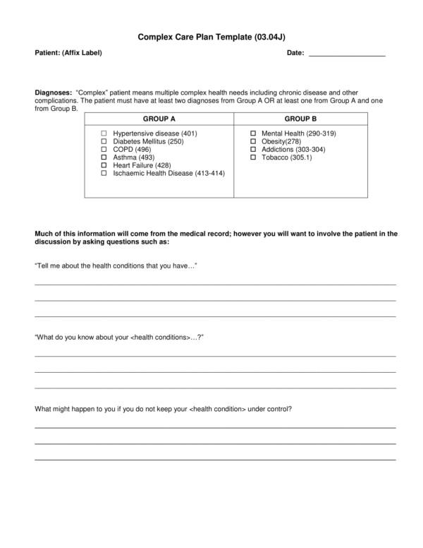 self management and complex care planning template 03