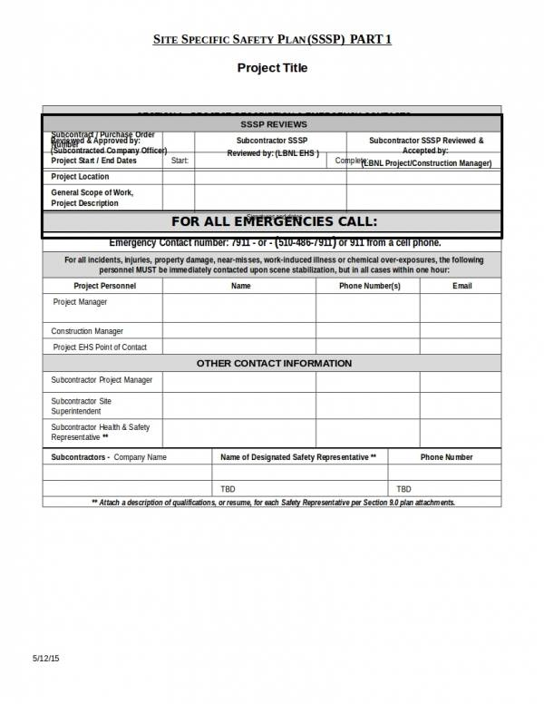 subcontractor construction safety plan template