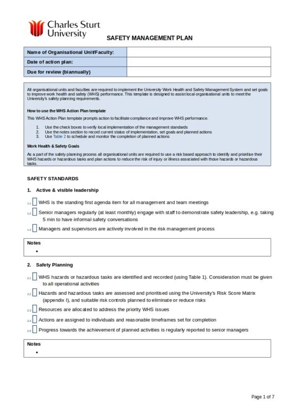 work health and safety action plan template