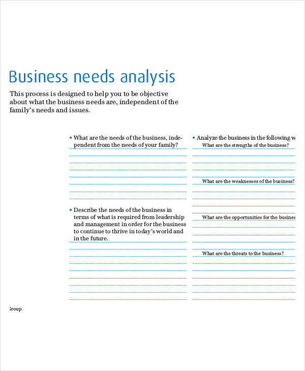 business needs analysis template