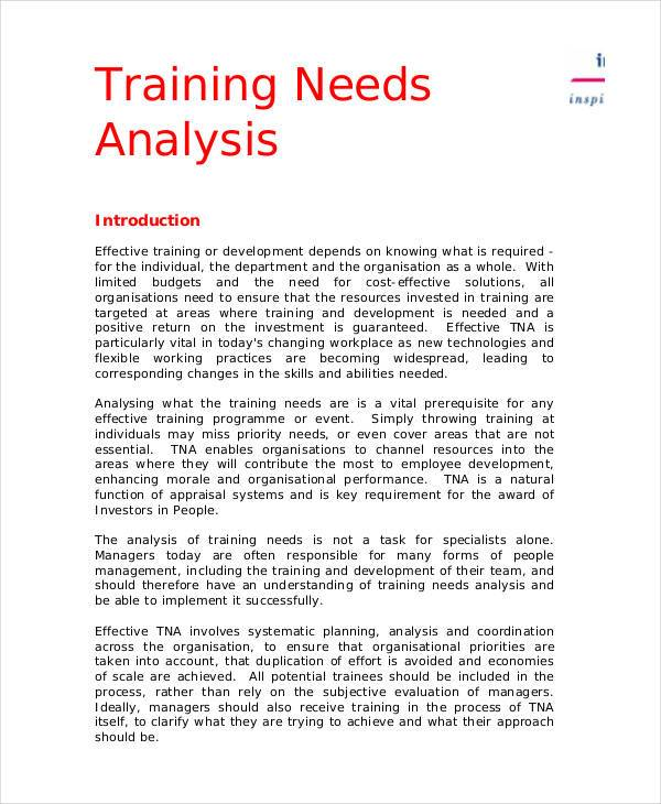 business training needs analysis template