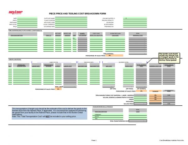 cost breakdown analysis form