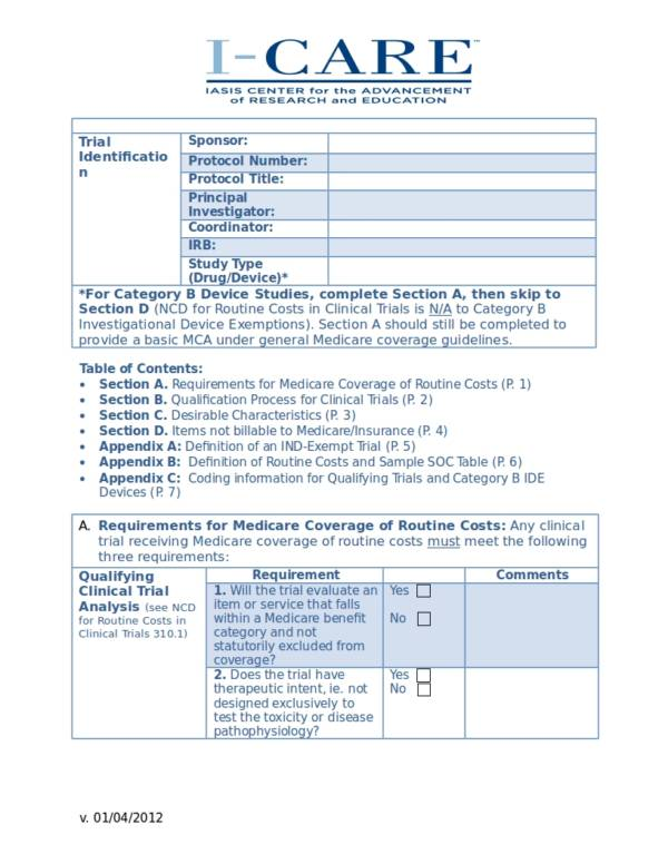 editable medicare coverage analysis template