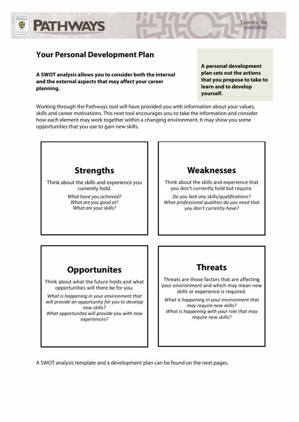 employee swot analysis and development plan template 1