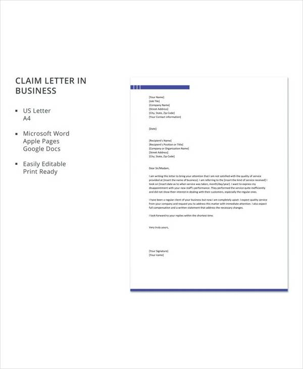 free claim letter in business