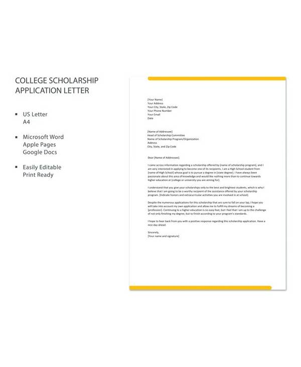 free college scholarship application letter