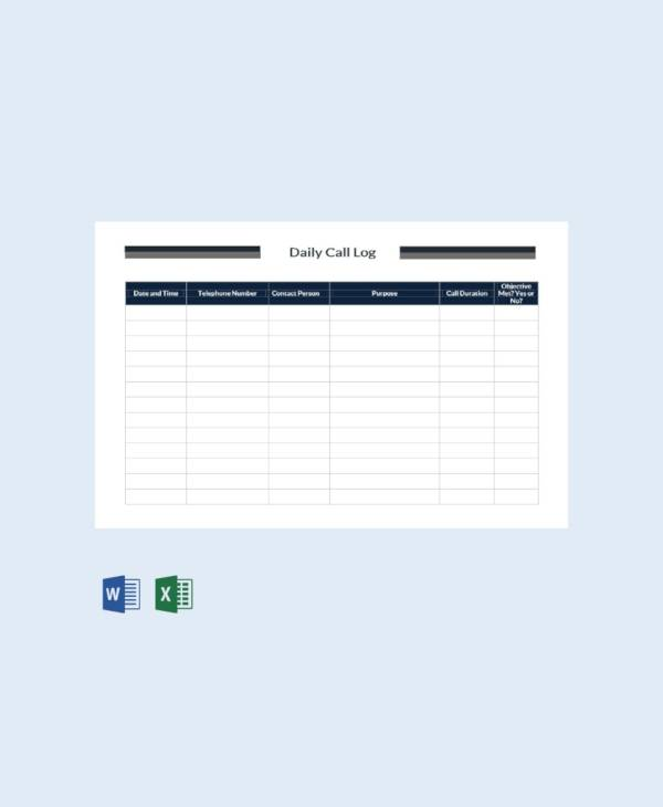 free daily call log template