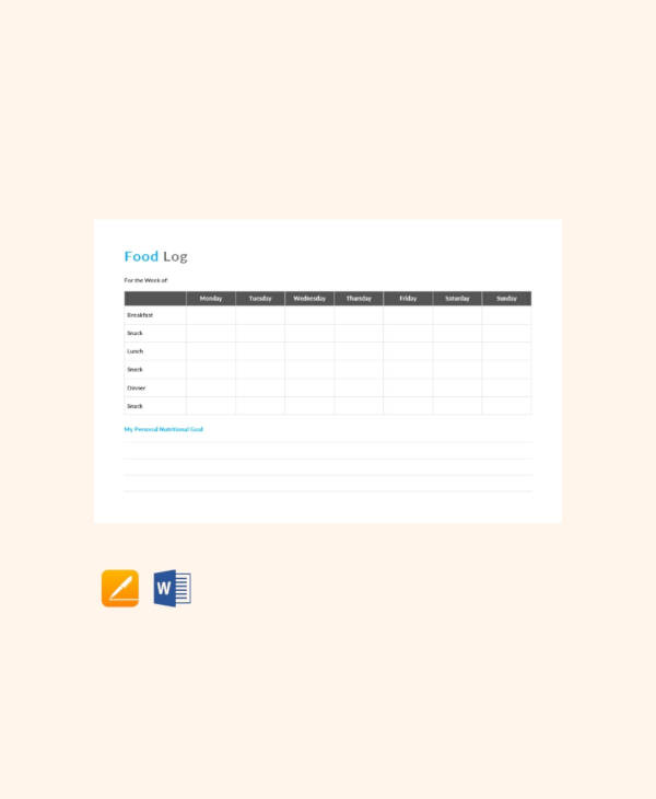 free food log template