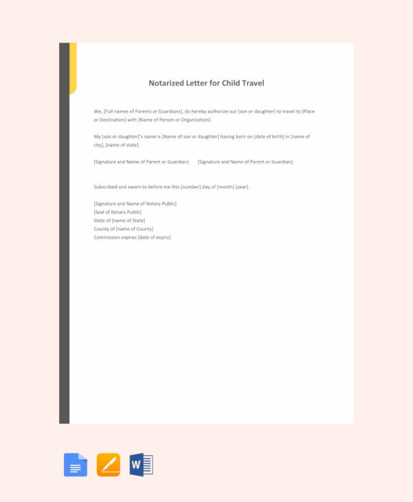 free notarized letter template for child travel