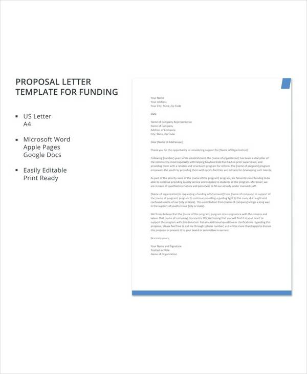 free proposal letter template for funding