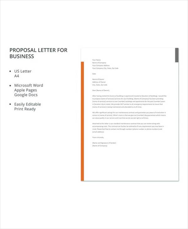 free proposal letter for business template