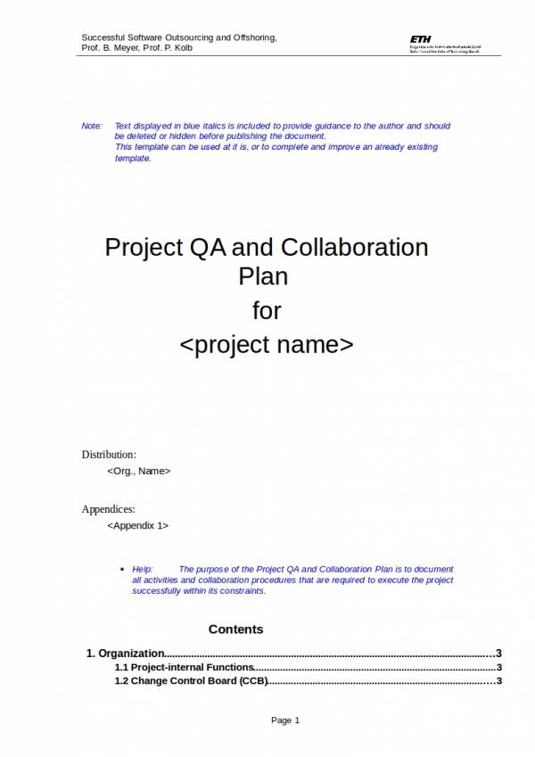 9 Quality Assurance Plan Templates Pdf Word