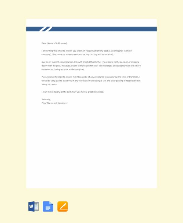 free resignation email with notice period template