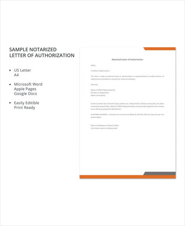 free sample notarized letter of authorization