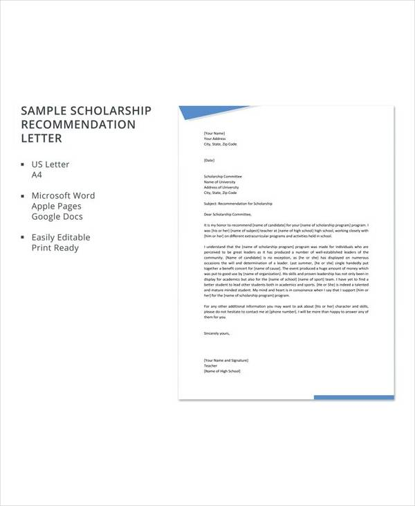 free sample scholarship recommendation letter