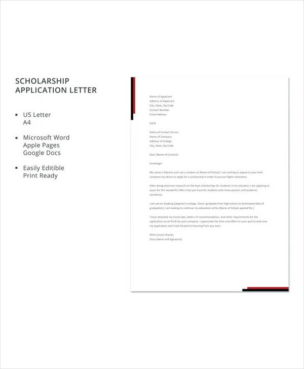 10 Sample Scholarship Application Letters Pdf Doc