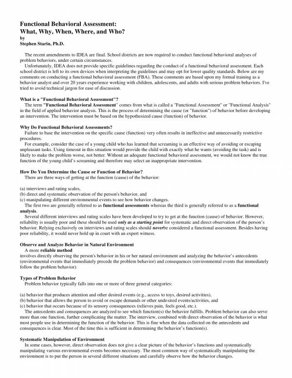 functional behavioral assessment guide questions 1