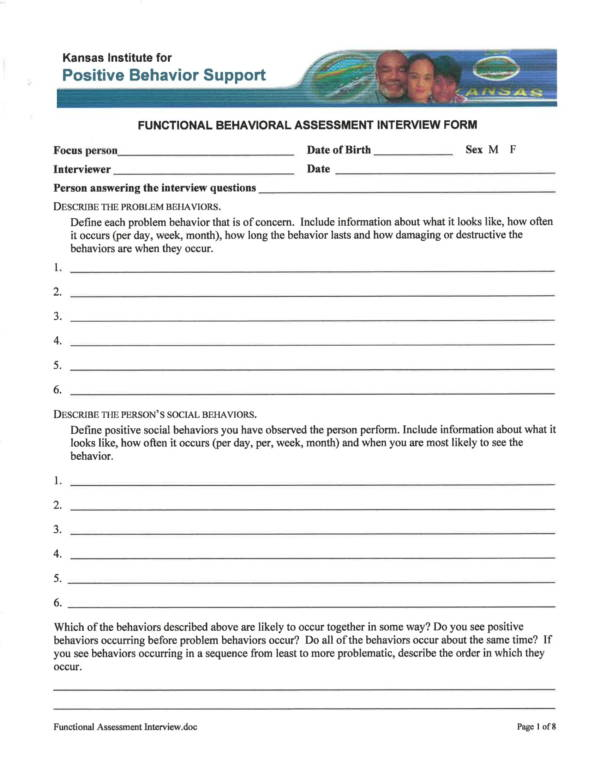 functional behavioral assessment interview form 1