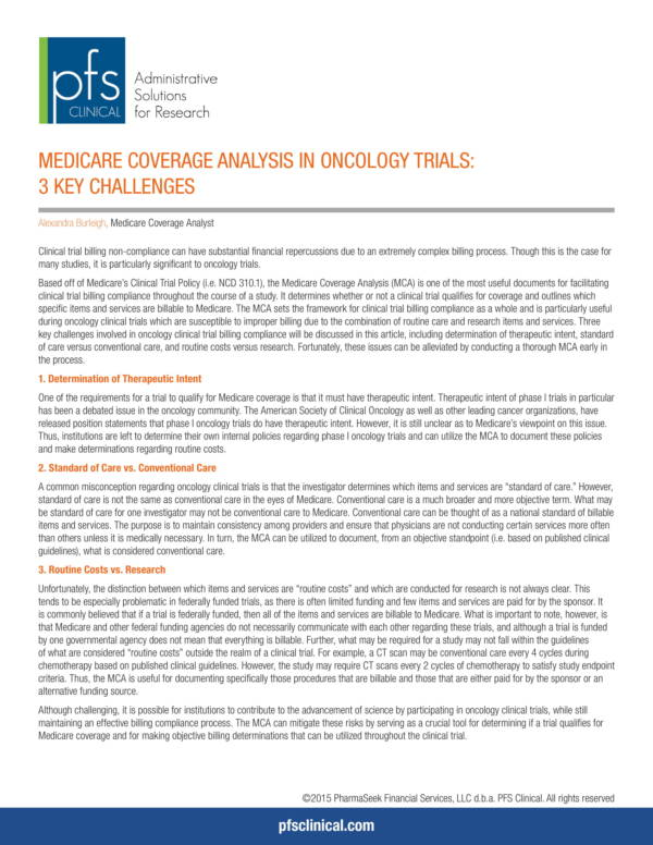medicare coverage analysis in oncology trials 1